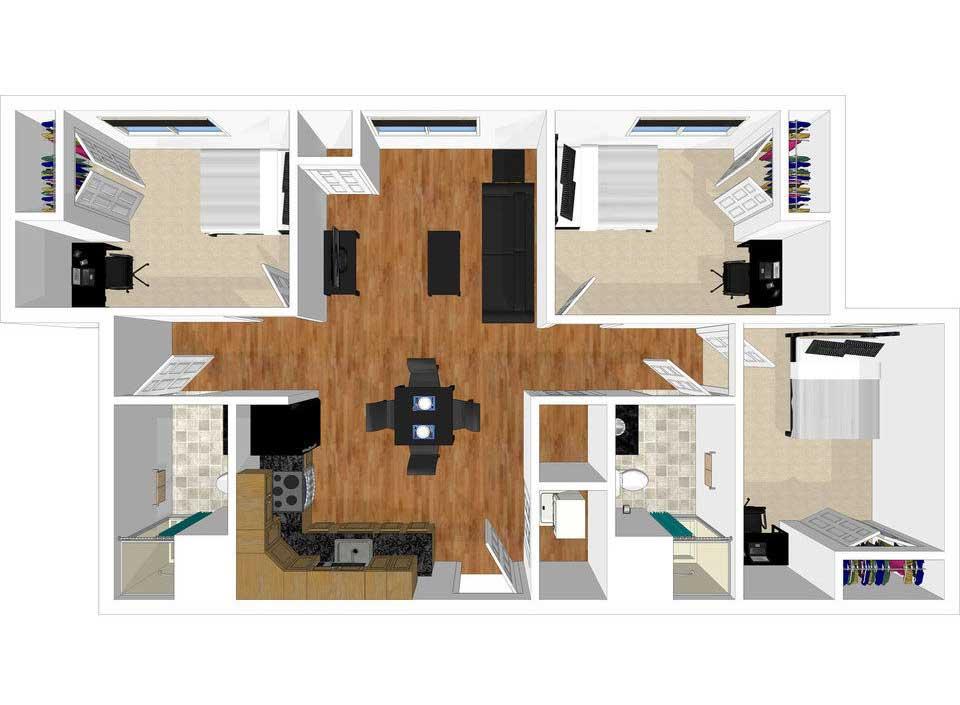 3 bed 2 bath floorplan drawing
