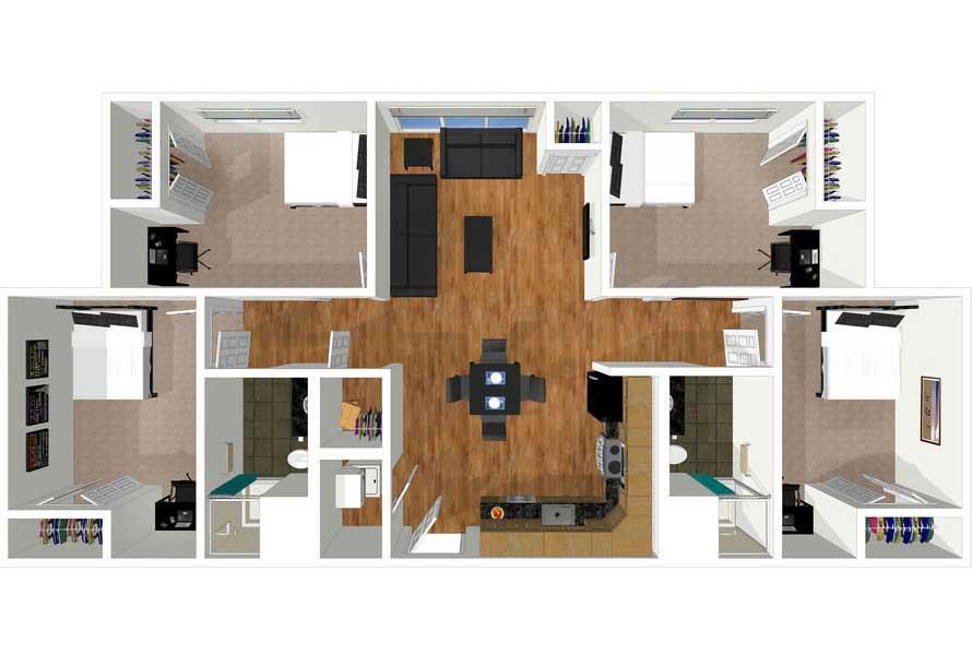 4 bed 2 bath floorplan drawing