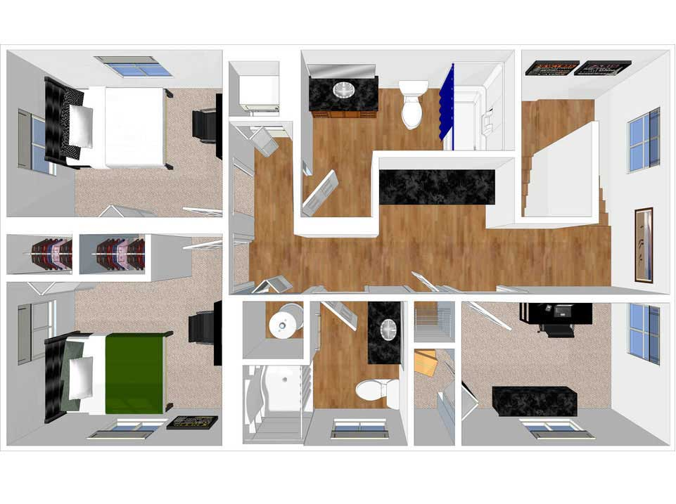 3 bed 3 bath townhouse floorplan