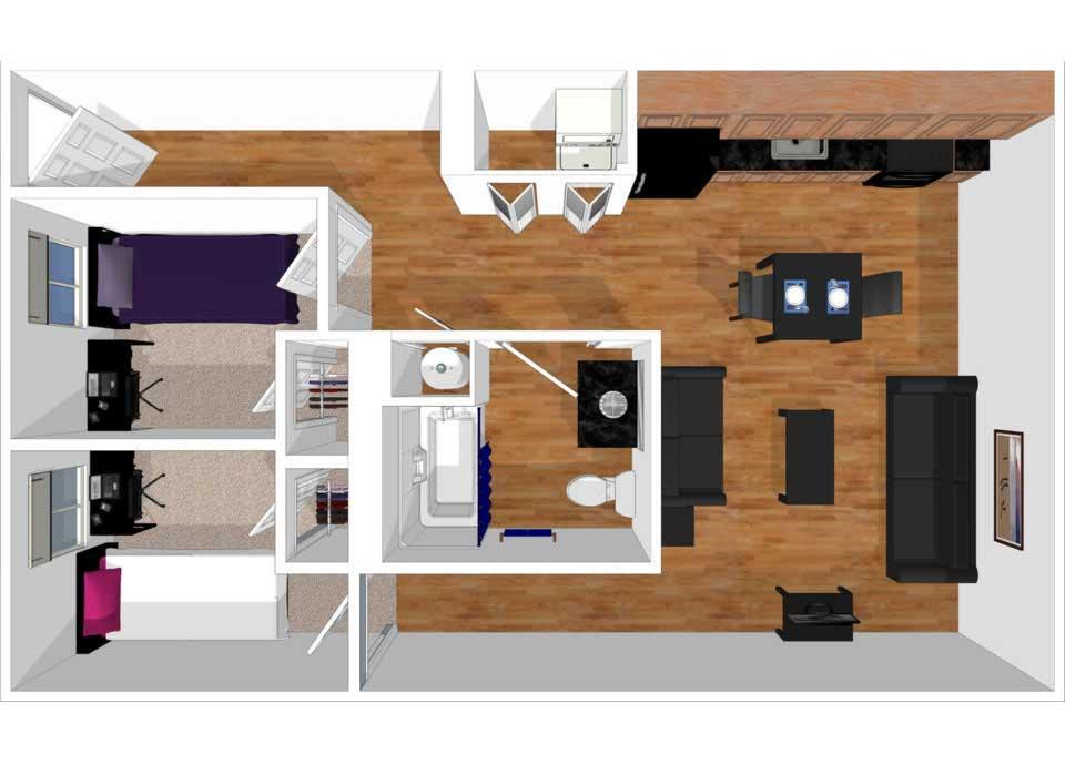 2 bed 1 bath townhouse floorplan